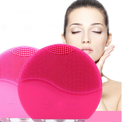Ultrasonic Electric Facial Cleansing Brush Vibration Skin Silicone Face Massager