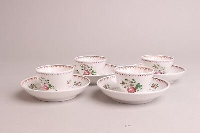 Set Antique Porcelain Famille Rose Cup & Saucers, 18th century English