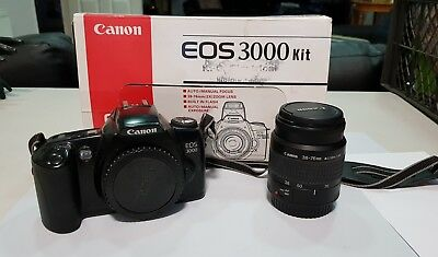 Canon EOS 3000 35mm SLR Film Camera - Body + Body Cap.+ lens