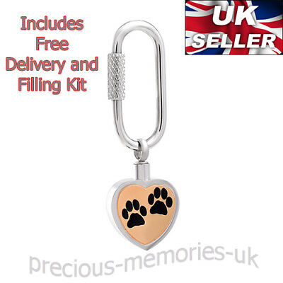 Pet Dog Cat Cremation Ashes Urn Keyring -  Keepsake Jewellery - Memorial Pendant