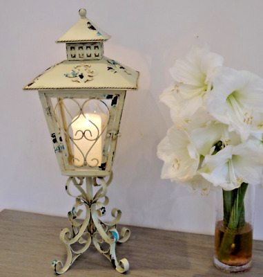 Large Metal Lantern Candle Holder Antique French Vintage Style Shabby Chic Lamp