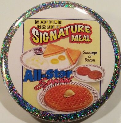 Waffle House PIN - All Star Special HOLOGRAM BUTTON Fast Food Restaurant Chain