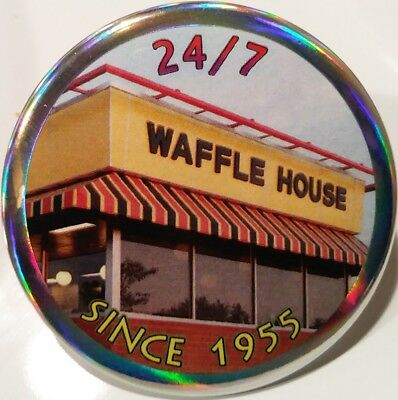 Waffle House PIN - Since 1955 Large HOLOGRAM BUTTON Fast Food Restaurant Chain