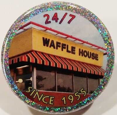 Waffle House PIN - Since 1955 small HOLOGRAM BUTTON Fast Food Restaurant Chain