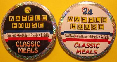 Waffle House PIN SET - Classic Meals HOLOGRAM BUTTONS Fast Food Restaurant Chain