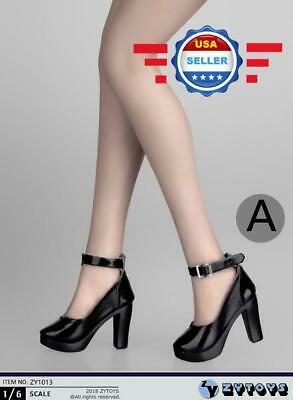 """1/6 scale High Heel Shoes BLACK for 12"""" female Figure Doll PHICEN"""