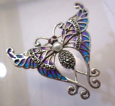 Solid Silver Plique a Jour Swallow Tail Butterfly Marcasite  Brooch Pendant