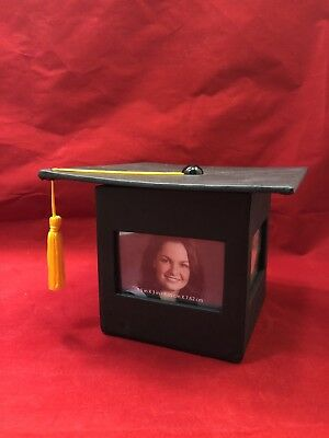New Graduation Picture Frame Photo Cube 4 Sided Tassel Memory Box Free Shipping