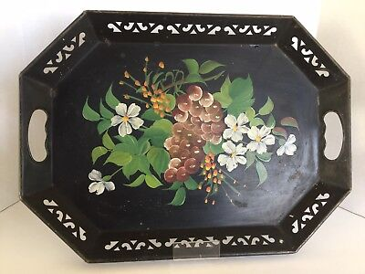 "Vintage Pilgrim Art Black Floral Tole Toleware Large 18"" Serving Tray"