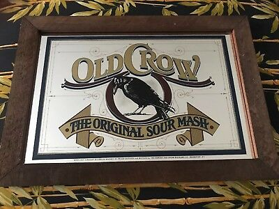 Rare Vintage Old Crow Whiskey Mirror Sign Man Cave Bar Kentucky