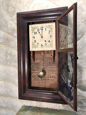 Vintage Antique Usa Wall&stand Pendulum Clock With Seth Thomas Movement Working