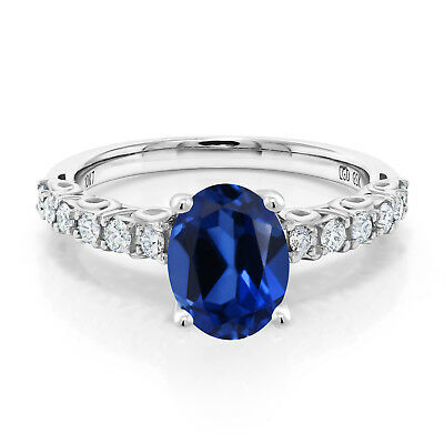 1.90 Ct Oval Blue Created Sapphire G/H Lab Grown Diamond 10K White Gold Ring