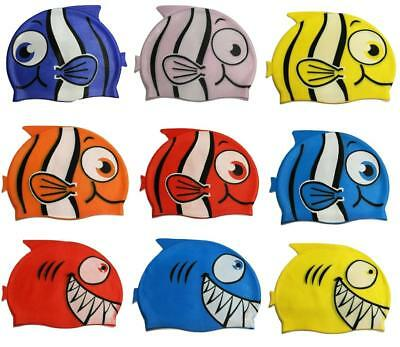 Kids Children Swimming Pool Shark Fish Cartoon Cap Silicone Swim Hat Waterproof
