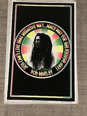 "Vintage 1993 Bob Marley Positive Day Black Light Poster Flocked 23"" x 35"" Reggae"