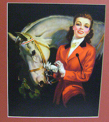 """New Matted Repro Print Roy Best Grey Horse Lady Woman Hunt Seat Saddle 11""""x14"""""""