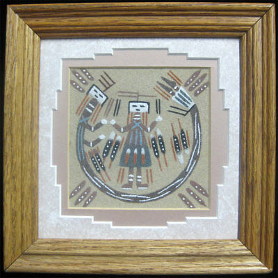 Authentic Navajo Sand Painting VTG 7x7 Framed Native American Healing Power Art