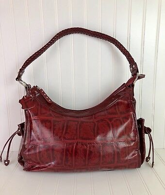 Mc Marc Chantal Red Leather Purse Embossed Croc Braided Strap Satchel Handbag