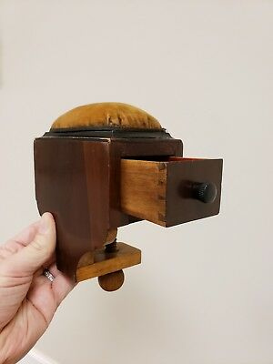 Antique American Pin Cushion Sewing Clamp Dovetail Fine Box Midwest Il Americana