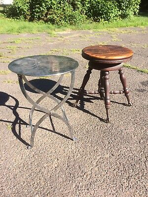 Vintage Antique Piano Stool And Art Deco Style Stand