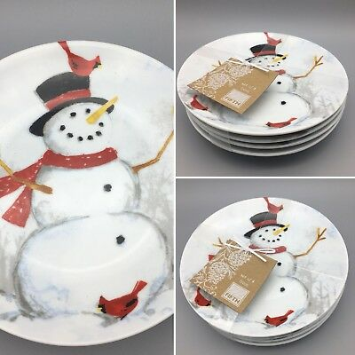 x4 222 FIFTH Winter Cheer Appetizer Plate Set Snowman Red Cardinal Christmas NEW