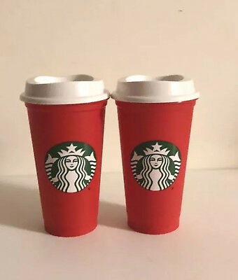 2 Starbucks 2018 Red Reusable 16oz Traveler Drinking XMAS Cup with  DISCOUNT