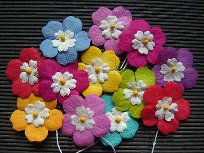 50 x 25mm FLOWERS Mixed Colours  MPFF34 Scrapbook Card Party embellishments