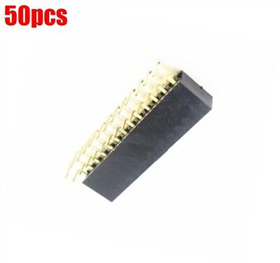 50Pcs 2.54MM Double Row Right Angle Female Pin Header Socket Connector Pitch ix