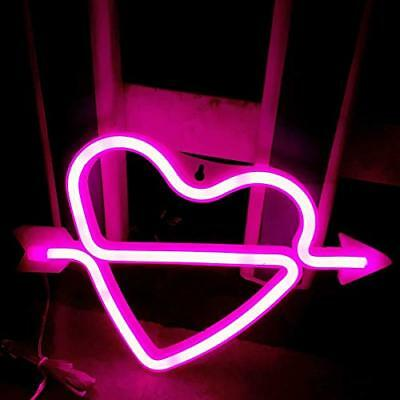 Cupid's Bow Shape Neon Light Romantic LED Heart Night Lamps Love Marquee Letter