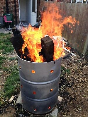 210 L Fire Bin Wood Rubbish Burner Large Metal Incinerator Home Garden furnace