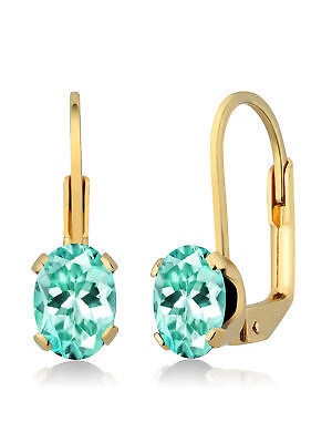 1.64 Ct Oval Aqua Apatite Brass Yellow Gold Plated Brass Earrings