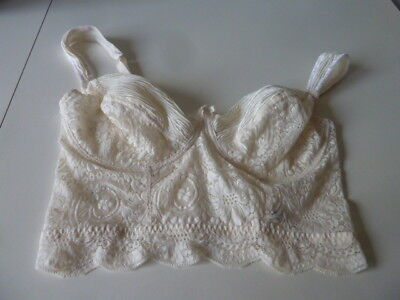 Vintage St Michael Long Line Cream Lace Long Line Underwired Non Padded Bra,38C