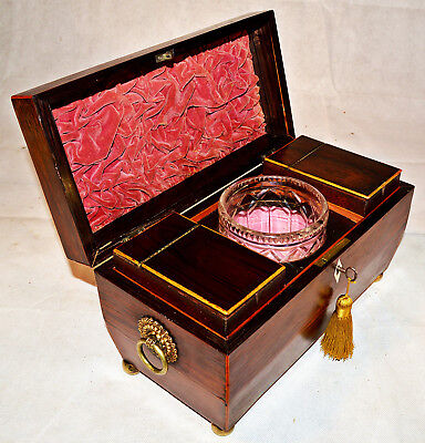 A Regency Rosewood Sarcophagus shaped Tea Caddy with Mixing Bowl and Key