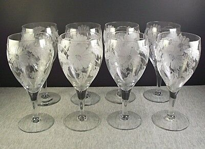 8 Antique Chrysanthemum Etched Glass Water Goblets