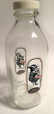 Pepe Le Pew & Penelope Glass Milk Bottle, NEW, never used.