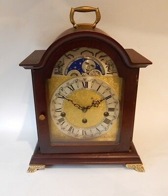 Superb Franz Hermle Mahogany Moon phase Westminster Chiming Bracket Clock 2885