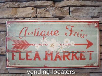 Antique Fair Flea Market Distressed Reproduction Wood Hanging Sign