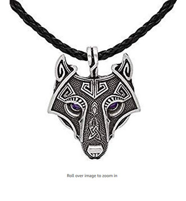Unique Antique Bronze Silver Viking Wolf Pendant Head Necklace with Dazzling Pur