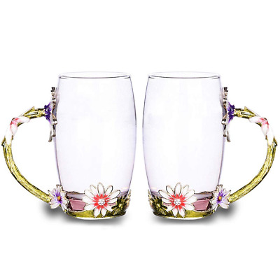 Glass Tea Cup Set [2-Pack], TIANG 12oz Lead Free Flower Mug with Handle NEW US