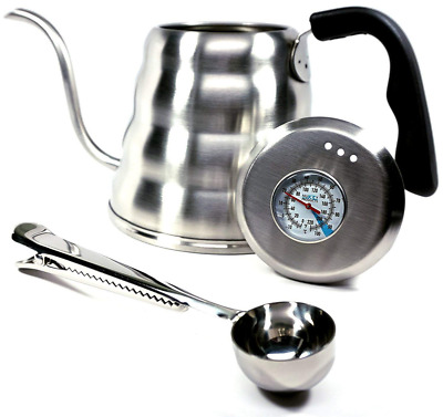 1.2L Coffee Kettle with Thermometer Gooseneck Hand Grip Premium Stainless Steel