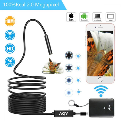 WiFi Endoscope, Wireless Borescope Inspection Camera HD waterproof Snake LED US