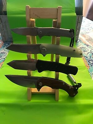 """Brown Wood 10-1/8"""" Countertop Knife Display Stand Holder - Holds 4 Knives"""