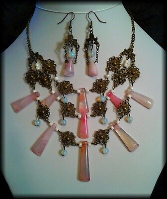 Handmade Antique Tudor Style Polished Pink Agate Necklace & Earrings Set