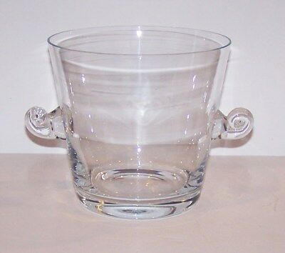 "Stunning Signed Tiffany & Co Crystal 6"" Classic Scroll/snail Handled Ice Bucket"