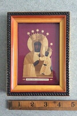 Vintage Polish Madonna Mary Portrait / Religious Icon / Poland