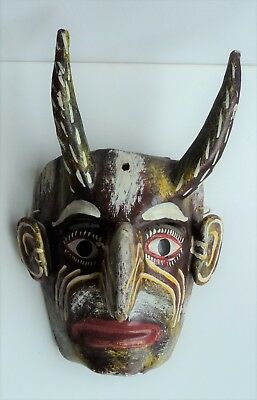 Vintage FOLK ART wooden large DEVIL MASK - Mexico Day of the Dead hand carved EX