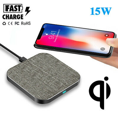 15W Fast Charge Qi Wireless Charger Slim Pad For Samsung Note 9 iPhone XR XS Max