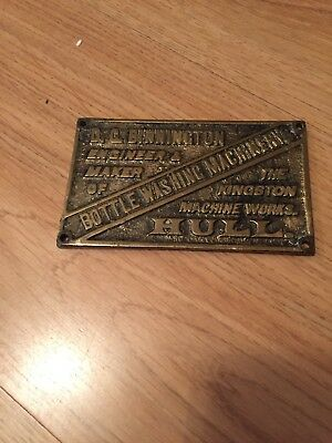 Reclaimed Vintage  Cast Brass Machine Plaque- D C BINNINGTON Kingston Hull