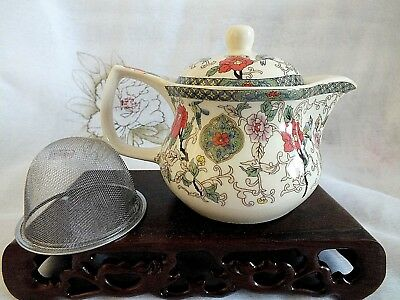 Chinese Bird Color Peony Cream Teapot Tea W Infuser Japanese Birthday Party A2