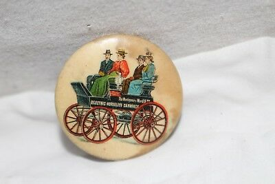 Rare Vintage c1900 Montgomery Ward Horseless Carriage Gas Oil Metal Pinback Sign