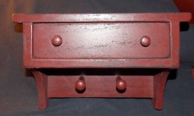 Nice Primitive Rustic Red Distressed Wood Wall Cabinet/Shelf w/1 Drawer/2 Pegs!